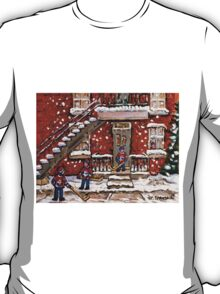 VERDUN DUPLEXES IN WINTER SNOWY DAY IN MONTREAL KIDS PLAYING HOCKEY IN THE STREET T-Shirt