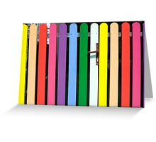 Multicolored rainbow picket fence Greeting Card