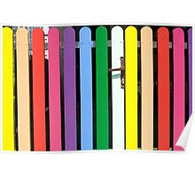 Multicolored rainbow picket fence Poster