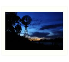 River Windmill Art Print
