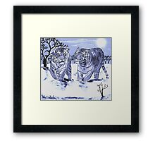 Snow Tigers Blue Justin Beck Picture 2015088 Framed Print