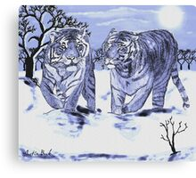 Snow Tigers Blue Justin Beck Picture 2015088 Canvas Print