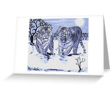 Snow Tigers Blue Justin Beck Picture 2015088 Greeting Card