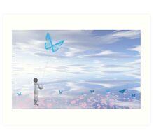 Little Kite Flyer Art Print