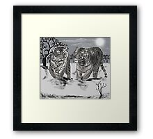 Snow Tigers Grey Justin Beck Picture 2015087 Framed Print