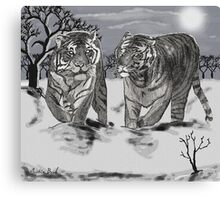 Snow Tigers Grey Justin Beck Picture 2015087 Canvas Print