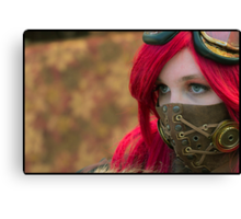 Mysterious Steam Punk Red Head Canvas Print