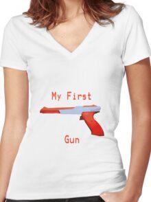 My First Gun Women's Fitted V-Neck T-Shirt