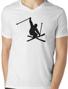 Skiing jump Mens V-Neck T-Shirt