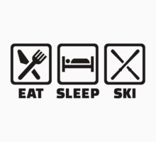 Eat sleep ski One Piece - Short Sleeve