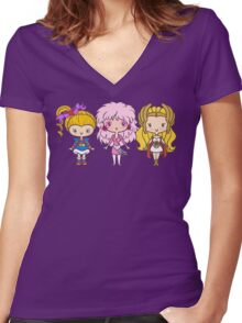 Lil' CutiEs - Eighties Ladies Women's Fitted V-Neck T-Shirt