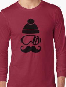 Ski snowboard hat mustache Long Sleeve T-Shirt