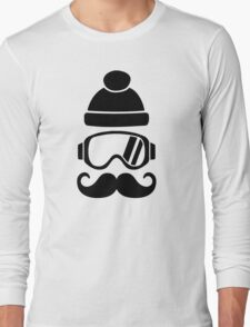 Ski snowboard hat mustache Long Sleeve T-Shirt