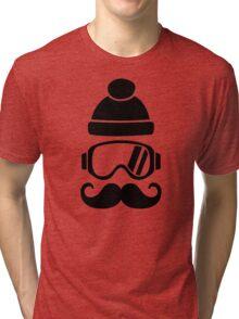 Ski snowboard hat mustache Tri-blend T-Shirt