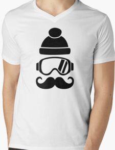 Ski snowboard hat mustache Mens V-Neck T-Shirt