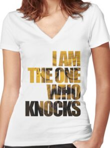 I am the one who knocks.... Women's Fitted V-Neck T-Shirt