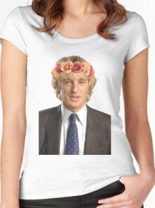 Owen Wilson Flower Crown Women's Fitted Scoop T-Shirt