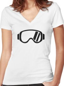 Ski goggles Women's Fitted V-Neck T-Shirt