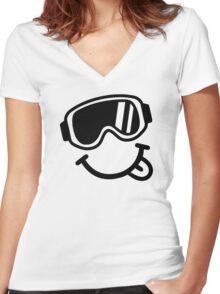 Ski smiley face Women's Fitted V-Neck T-Shirt