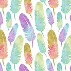 Boho Feather Pattern Watercolor Rainbow by JannaSalak