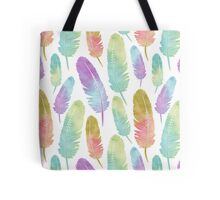 Boho Feather Pattern Watercolor Rainbow Tote Bag