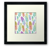 Boho Feather Pattern Watercolor Rainbow Framed Print