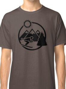 Skiing mountains sun Classic T-Shirt