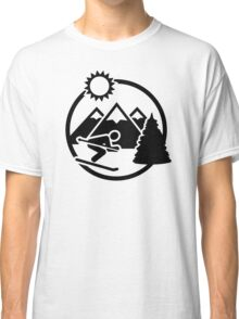 Skiing mountains sun Classic T-Shirt
