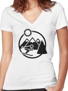 Skiing mountains sun Women's Fitted V-Neck T-Shirt