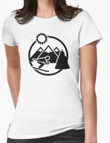 Skiing mountains sun Womens Fitted T-Shirt