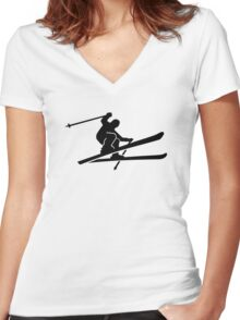 Skiing jump Women's Fitted V-Neck T-Shirt