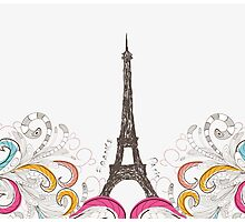 Cute Paris doodle Photographic Print