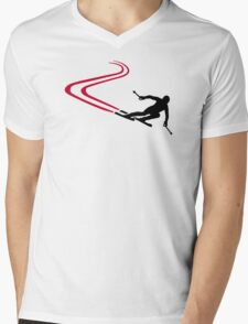 Downhill ski tracks Mens V-Neck T-Shirt