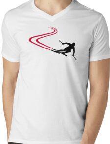 Downhill ski tracks Mens V-Neck T-Shirt