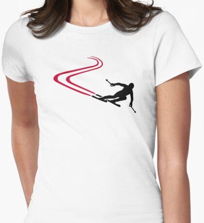 Downhill ski tracks Womens Fitted T-Shirt