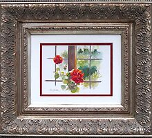 Red Geranium in Window by Pat Yager