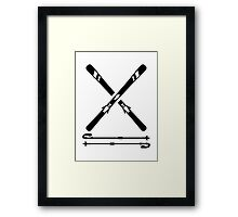 Crossed ski equipment Framed Print