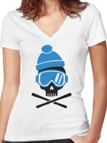 Skiing skull Women's Fitted V-Neck T-Shirt