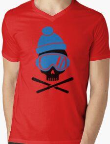 Skiing skull Mens V-Neck T-Shirt