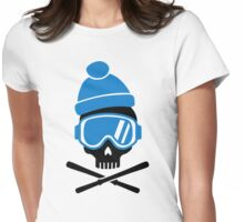 Skiing skull Womens Fitted T-Shirt