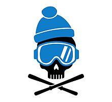 Skiing skull Photographic Print