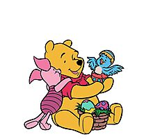 Pooh and Piglet at Easter Photographic Print