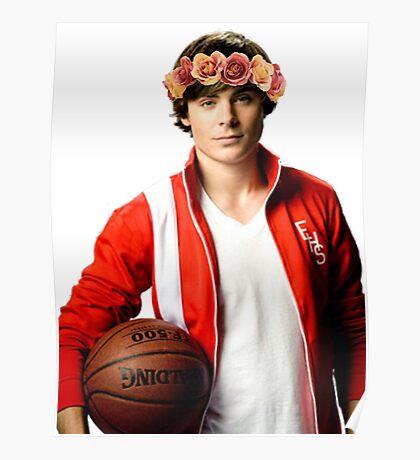 Zac Efron Flower Crown Poster