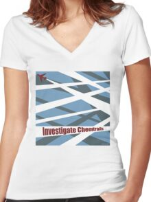 Investigate Chemtrails Women's Fitted V-Neck T-Shirt