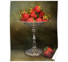 Strawberries On A Pedestal Poster