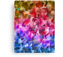 COLOR ME FLORAL 4 Whimsical Abstract Watercolor Painting Ombre Flower Pattern Pink Red Purple Blue Ochre Canvas Print