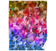 COLOR ME FLORAL 4 Whimsical Abstract Watercolor Painting Ombre Flower Pattern Pink Red Purple Blue Ochre Poster
