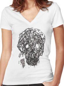 suduko cranium Women's Fitted V-Neck T-Shirt