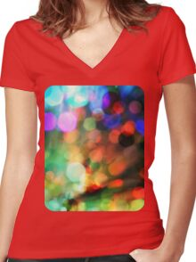 Smokey Bokeh Women's Fitted V-Neck T-Shirt