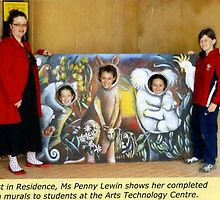 Me and Christian College students posing with 'Australiana'. A mural painting for the school's farm by Penny Hetherington